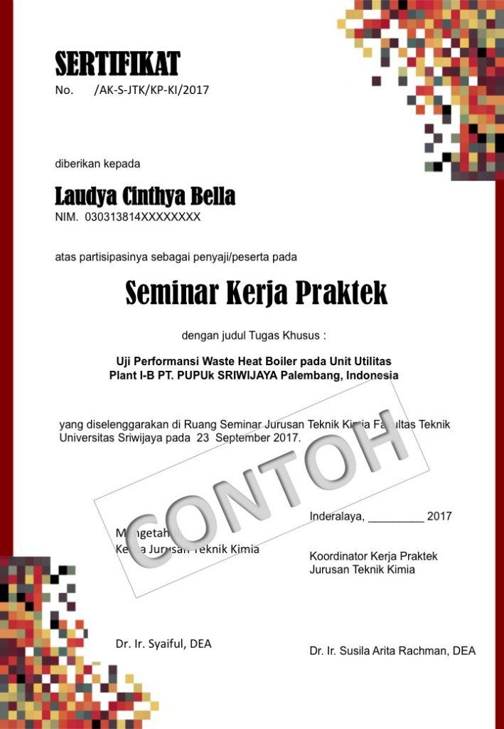 Sertifikat Seminar Kerja Praktek